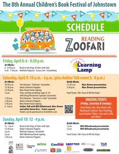 Produced by The Learning Lamp, the Children's Book Festival of Johnstown is a free, three-day festival for families of children in preschool-grade Book Festival, Storytelling, Childrens Books, Schedule, Glasses, Learning, Children's Books, Timeline, Eyewear