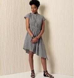Kathryn Brenne dress pattern for Vogue Patterns features an asymmetrical hem and contemporary, diagonal waist detail. V9186.