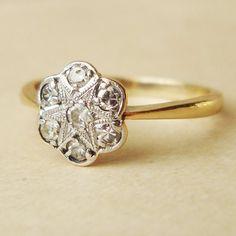 Art Deco Diamond Daisy Flower Ring, Antique Engagement Ring, Diamond Platinum and 9k Gold Wedding Ring Approximate Size US 5.25 / 5.5 via Etsy