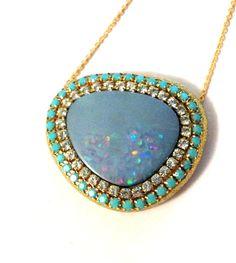 SALE Fabulous Opal and crystal necklace by YaronaJewelryDesign, $107.10