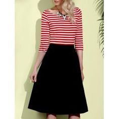 SHARE & Get it FREE | Graceful Round Neck 3/4 Sleeve Striped A-Line Women's DressFor Fashion Lovers only:80,000+ Items • FREE SHIPPING Join Twinkledeals: Get YOUR $50 NOW!