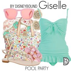 Giselle by leslieakay on Polyvore featuring polyvore fashion style René Caovilla Dooney & Bourke Bling Jewelry Wildfox disney swimwear disneybound poolparty disneycharacter