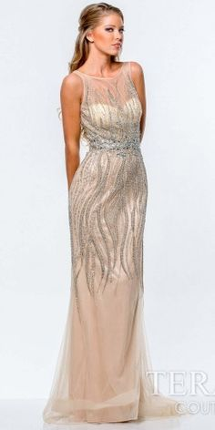 $1,265, Beige Embellished Evening Dress: Terani Couture Crystal Nude Sheath Evening Gown. Sold by eDressMe. Click for more info: https://lookastic.com/women/shop_items/133246/redirect
