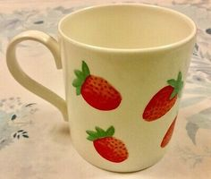 Super Kitsch strawberry Pattern on an ivory coloured background. Very good, clean condition. Cherries, Strawberries, Vintage Coffee Cups, Cute Stuffed Animals, Light Of My Life, Cute Mugs, China Porcelain, Kitsch, Bone China