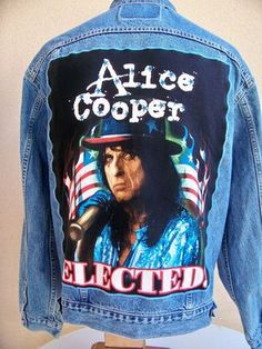 "BAREFOOT VINTAGE ORIGINAL ALICE COOPER ""ELECTED"" TOUR JACKET LEVI'S XL #115 ...SOLD "" BLUE ISLAND IL.."""