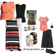 Feminine Friday & My Favorite Things! -This is probably my favorite outfit, for both mom and daughter! I really like both of the necklaces! @ The Modest Mom