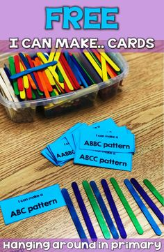 Teach your patterning unit without the need for boring worksheets. Yes you CAN teach patterns in kin Pattern Worksheets For Kindergarten, Patterning Kindergarten, Teaching Patterns, Math Patterns, Kindergarten Books, Grade 2 Patterning Activities, Number Patterns, Early Childhood Activities, First Grade Activities