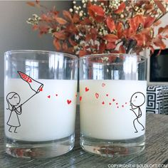 Cute anniversary gifts for girlfriend or wife- BoldLoft From My Heart to Yours His and Hers Drinking Glasses. With these his and hers drinking glasses, you and your sweetheart can remember each other with every sip! Couple Pillowcase, Romantic Gestures, Anniversary Gifts For Husband, Valentines Gifts For Her, When You Love, Drinking Glass, Romantic Gifts, Couple Gifts, Girl Gifts