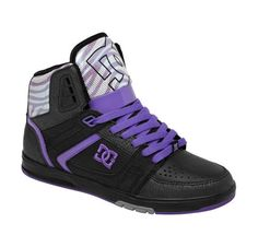3f1e83ed03 Black and purple DC shoes Skates