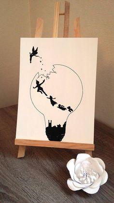 Affiche Illustration Noir et blanc ampoule Peter pan et
