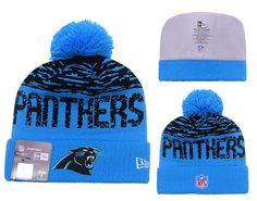 Men's / Women's Carolina Panthers New Era NFL 2016 On-Field Sports Knit Pom Pom Beanie Hat - Black / Blue