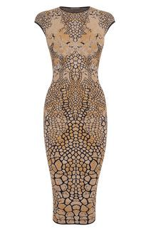 Black/Gold Dragonfly Wings Jacquard Pencil Dress. McQueen. So cool.