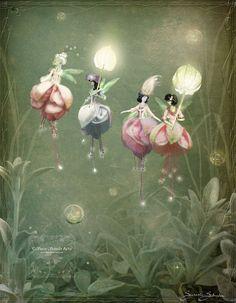 Fuchsia Flower Fairies by Susan Schroder - Mythical Fantasy Fairy Art Print - - Fantasy Kunst, Fantasy Art, Fantasy Images, Fuchsia Flower, Picture Hangers, Flower Fairies, Fairy Art, Mythical Creatures, Fairy Tales