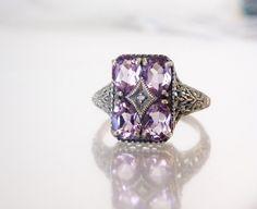 Victorian Style Sterling Silver 925 Genuine Amethyst Diamond Filigree Ring 9 5 | eBay