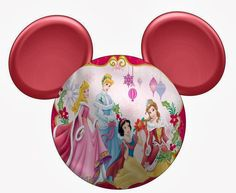 Cute Mickey Head With Disney Princes Speciall Christmas. Free Printables.