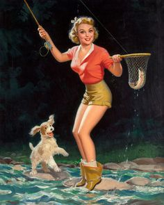 Pin-Up Girl I Caught a Fish with Puppy Dog. Pin Up Girl Vintage, Retro Pin Up, Vintage Pins, Vintage Clip, Vintage Art, Old Fishing Lures, Fishing Boots, Fly Fishing, Earl Moran
