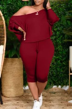 Burgundy Fashion Casual Solid Basic Oblique Collar Plus Size Two Pieces Plus Size Two Piece, Look Plus Size, Plus Size Jeans, Women's Plus Size Style, Plus Size Casual, Curvy Girl Fashion, Plus Size Fashion, Orange Fashion, Burgundy Fashion