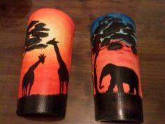 """DIVINISIM@S¡¡¡¡¡¡Mi comienzo de semana viene cargado de """"estilo africano"""", ya que este es el motivo que he decidido exponer este año en mi terraza. Os presento mis tejas con este estilo.... Afro, Plastic Bottle Crafts, Native American Pottery, Painted Wine Bottles, Bottle Painting, Pottery Painting, Art Pictures, Decoupage, Elephant"""