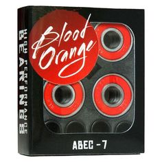 Blood Orange Abec 7 Bearings. Designed for ultra-low friction and high durability, the Blood Orange Abec 7 bearings will keep you shredding!