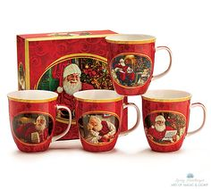"""Set of 4 Collector Mugs in a Decorative Box"" Available at www.cliffkringle.com"