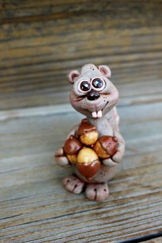 Squirrel Polymer Clay Sculpture by mirandascritters on Etsy, $25.00