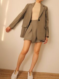 Soho suit set - 2 piece jacket wrap skort set in khaki (more colours available) - Kleidung - Jackets Korean Outfits, Mode Outfits, Outfits For Teens, Casual Outfits, Fashion Outfits, Fashion Sets, 70s Fashion, Style Fashion, Korean Clothes