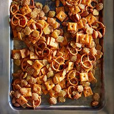 Perfect for game day parties, this snack mix has a spicy kick that's sure to satisfy!