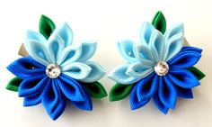 Kanzashi Fabric Flowers. Set of 2 hair clips. by JuLVa on Etsy