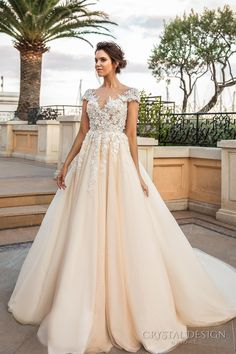 crystal design 2017 bridal cap sleeves v neck heavily embellished bodice lace embroidered romantic princess ivory creame color a line wedding dress v back long train (atico) mv