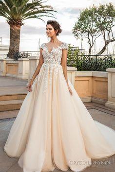 crystal design 2017 bridal cap sleeves v neck heavily embellished bodice lace embroidered romantic princess ivory creame color a line wedding dress v back long train (atico) mv