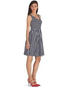 V-Neck Stripe Fit and Flare Dress