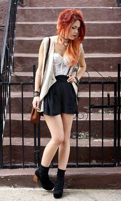 I love her firey ombre hair    Geneva (by Lua P) http://lookbook.nu/look/3621775-Geneva