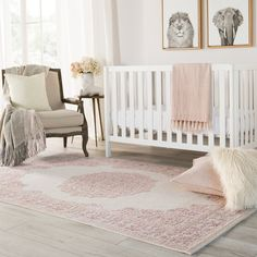 Bungalow Rose Fontanne Pink/White Area Rug Rug Size: Runner x White Area Rug, Beige Area Rugs, Pink Rug, Online Home Decor Stores, Pink White, Rug Size, Girl Nursery Rugs, Nursery Area Rug, Nursery Decor