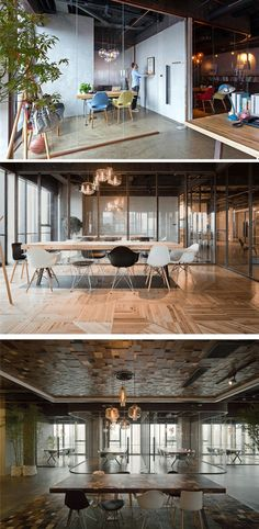 Wood, glass, and concrete play an important role in this office interior design