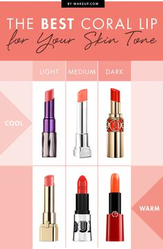 The guide you need for how to find the right coral lipstick for your skin tone.