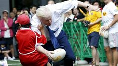 "Rugby can be vicious.  London Mayor, Boris Johnson, a man aged in his 50s who weighs over 115kg, knocks down Toki Sekiguchi, a 10 year old Japanese schoolboy, during a ""friendly"" in Tokyo, October 2015."