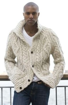 Men's White V-neck T-shirt, Navy Jeans, and Beige Knit Cardigan