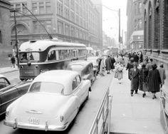 Queen Street just east of Yonge Street looking west circa mid-1950's.