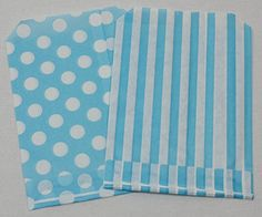 "25 Blue Spotted & 25 Blue Stripe Paper Candy bags - 5"" x 7"" PPW http://www.amazon.co.uk/dp/B00RN3PAUW/ref=cm_sw_r_pi_dp_JwQ3vb16GY6RZ"