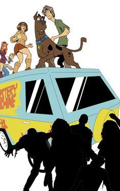Mistery Inc Vs The Walking Dead by Antonio Palumbo  #misteryinc #thewalkingdead #scoobydoo #misterymachine #zombie
