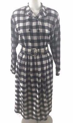 J.G. Hook Vtg 80's Womans Black White Checked Flannel Modest Dress Belted LS EUC…
