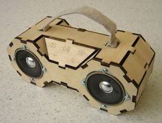 Matt Keeter says: This is a boombox made with the tools and techniques common to fab labs. It plays music off of a standard SD card, runs on a single 9V battery, and can be fabricated for under $100.
