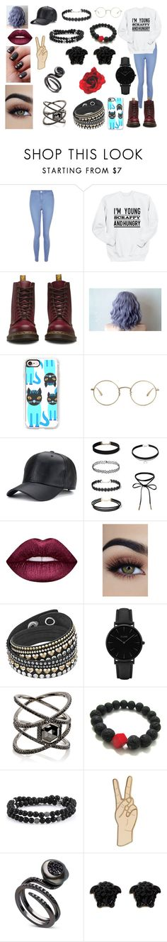"""~I'm Young, Scrappy, And Hungry~"" by kap-kap99 ❤ liked on Polyvore featuring New Look, Dr. Martens, Casetify, The Row, Lime Crime, CLUSE, Eva Fehren, Lucky Brand and Versace"