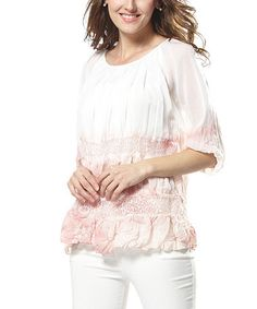 Look what I found on #zulily! Pink & White Ombré Lace Peasant Top by Simply Couture