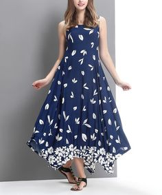 2d6c511194 Look what I found on #zulily! Blue Falling Petal Handkerchief Maxi Dress # zulilyfinds