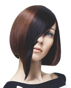 Long Red straight coloured multi-tonal asymmetrical womens haircut hairstyles for women