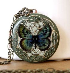 Locket Resin Locket Butterfly Green Necklace Wedding Necklace Bridesmaid Necklace Vintage Locket