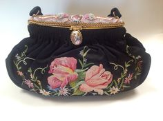 1930-1940 France a perfectly elegant design with beauvias embroidery and micro beaded frame  with a Limoges porcelain cab. thePurseMuseum.com