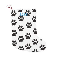 Personalized Cat Paw Prints Christmas Stocking Small Christmas Stocking http://www.zazzle.com/personalized_cat_paw_prints_christmas_stocking_manualwwstocking-256523031719338819?rf=238271513374472230  #christmas  #christmasstockings  #stockings