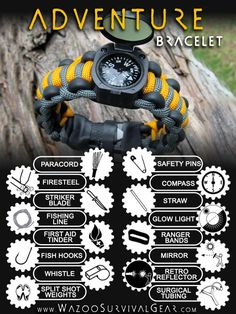 The Ultimate 550 Parachute Cord Bracelet! A Wearable Survival Kit with 16+ different survival tools and backed by Wazoo Lifetime Warranty.
